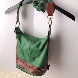 Vintage GREEN & BROWN convertible LEATHER bag NWOT